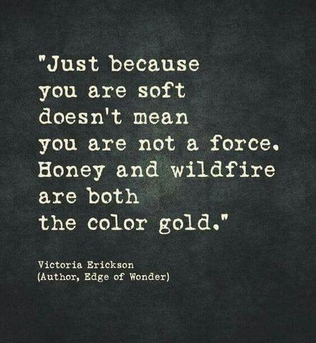 May be an image of text that says 'Just because you are soft doesn't mean you are not a force. Honey and wildfire are both the color gold.