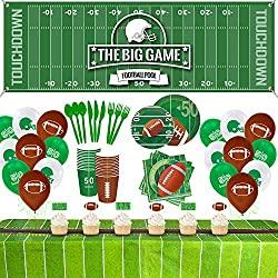 Image: Eazyco Football Party Supplies Decorations Set for 24 People, Include Tablecloths Banner Balloons Plates Napkins Cups Flatware Cupcake Toppers, Perfect for Super Bowl Game Day Birthday Party(214 PCS)