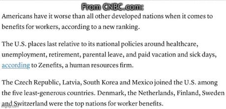 In Developed Nations, The U.S. Ranks Last In Worker Benefits