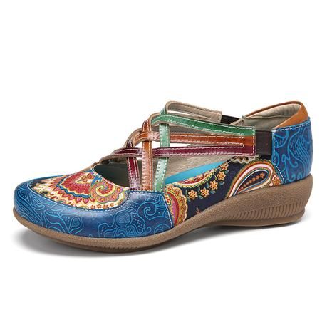 SOCOFY Vintage Paisley Elastic Strap Slip-on Wedge Casual Shoes