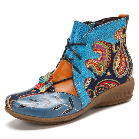 SOCOFY Folkways Paisley Print Comfy Wearable Flat Ankle Boots