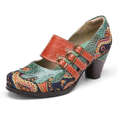 SOCOFY Vintage Paisley Splicing Leather Slip on Chunky Heel