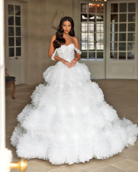 pollardi fashion group bridal dresses ball gown sweetheart strapless neckline ruffled skirt solemnity