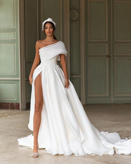 pollardi fashion group bridal dresses simple assymetric neckline long train hand embroidery queenliness