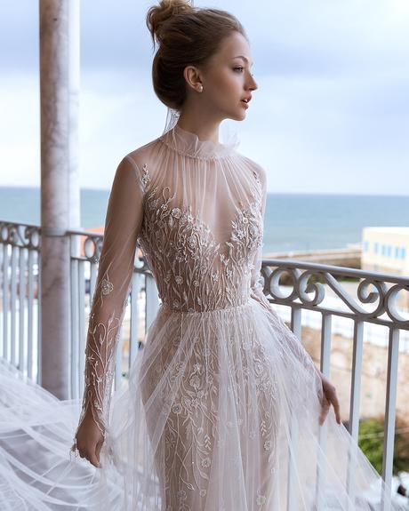 pollardi fashion group bridal dresses halter neckline with illusion sleeves sexy daria karlozi fragility