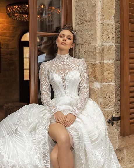 pollardi fashion group bridal dresses with long sleeves lace high neck ida torez devotion