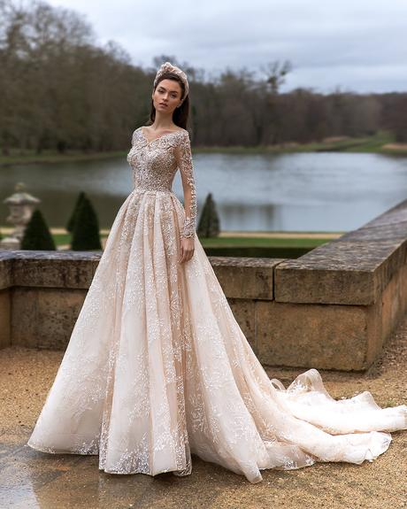 pollardi fashion group bridal dresses ball gown with illusion sleeves lace solemnity