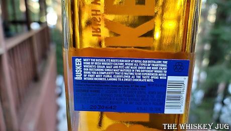 Busker Single Malt Irish Whiskey Back Label