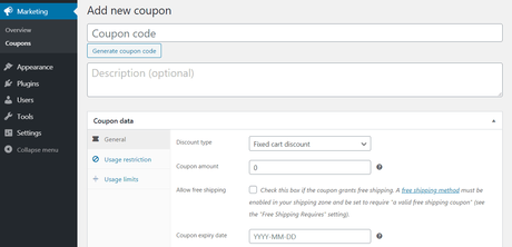 create a woocommerce coupon