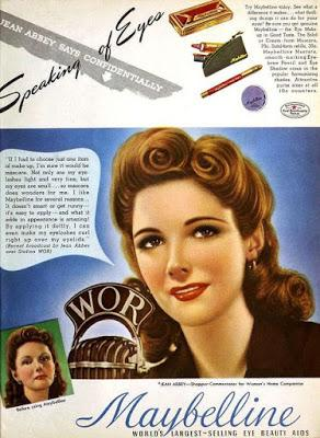 Forgotten Maybelline Model, Jean Abbey, 1940, first woman to broadcast a presidential inauguration. First woman to have her own radio commentary show