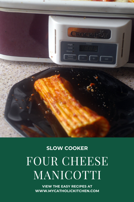 Slow Cooker Sunday Four Cheese Manicotti