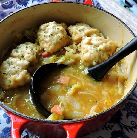 Ham & Vegetable Soup with Cheese Dumplings