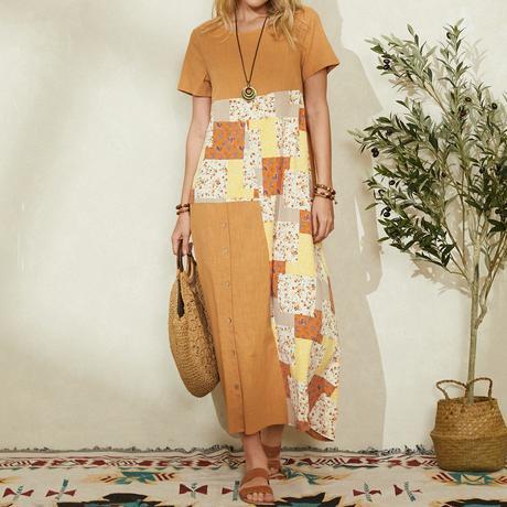 Print Patchwork Short Sleeve O-neck Button Bohemian Dress For Women