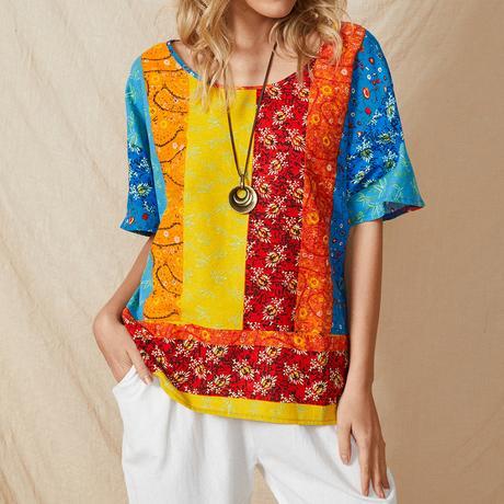 Multi-color Stripe Print Pocket O-neck Short Sleeve Ethnic T-Shirt