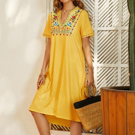Bohemian Flower Print V-neck Short Sleeve Print Dress