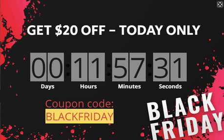 black friday exit intent popup