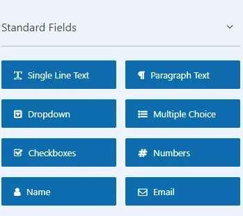 Standard fields available in WPForms