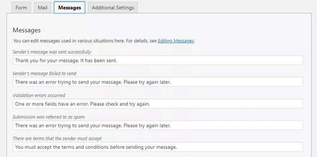 Setting up Messages feature in Contact Form 7 plugin