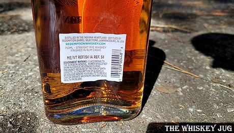 Redemption Rum Cask Finish Back Label