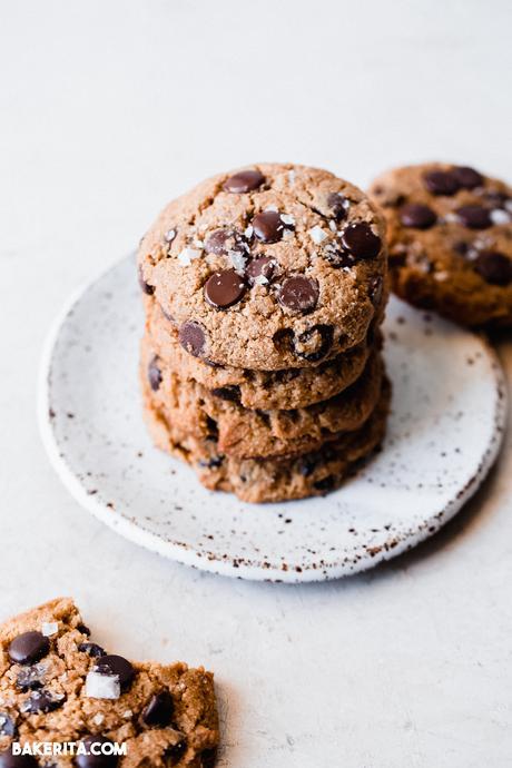 Gluten-Free Sourdough Chocolate Chip Cookies (Dairy-Free + Vegan)
