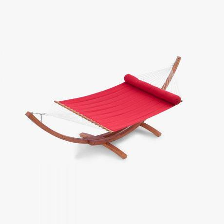 Cantina Wood Arc Hammock with Jockey Red Sunbrella Bed Set - by Red Star Traders - OP-WH01-CAN-K