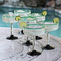 Margarita glasses, 'Eco Happy Hour' (set of 6) (Mexico)