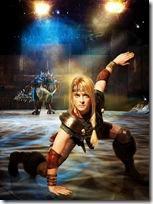 Astrid (Sarah McCreanor) fighting Deadly Nadder, photo credit Lisa Tomasetti