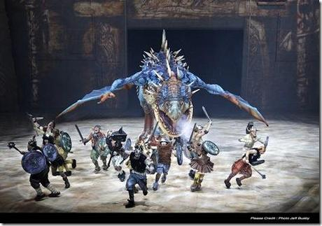 The Deadly Nadder pursues Vikings - How To Train Your Dragon Arena Spectacular