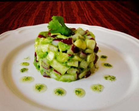 avocado tartare + cilantro oil