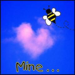 bee with heart shaped cloud