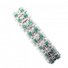 Princess Cut Emerald and Diamond Wide Link Bracelet, emerald diamond bracelet