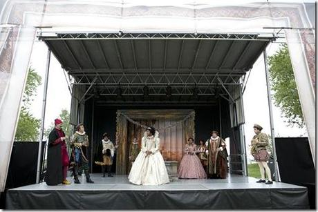 The celebration of the marriage of Katharina (Ericka Ratcliff) and Petruchio (Matt Mueller) in the Chicago Shakespeare in the Parks production of The Taming of the Shrew, adapted and directed by Rachel Rockwell. (photo credit: Michael Litchfield)