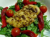 Mustard Honey Glazed Chicken with Grilled Pepper, Tomato Rocket Salad