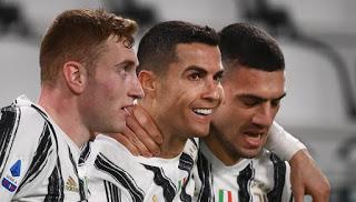 Video: Cristiano Ronaldo completes his first-half hat-trick against Cagliari