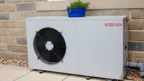 Air source heat pump on patio outdoors