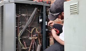Service repair on air source heat pump system