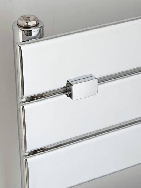 chrome heated towel rail close up