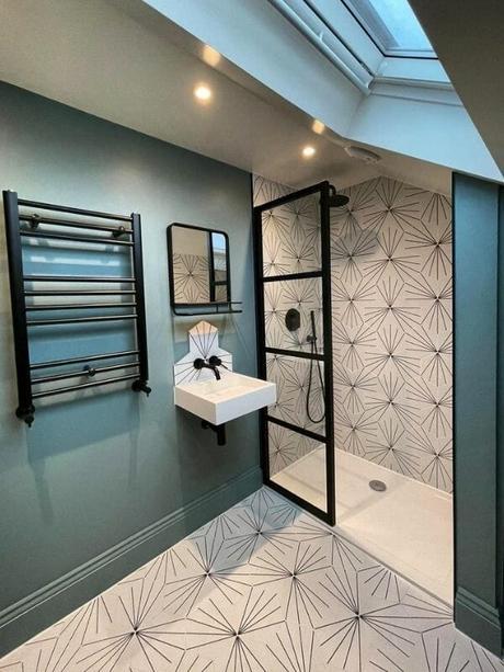 matt black heated towel rail in a modern bathroom