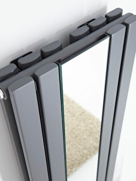 vertical designer radiator with a mirrror insert