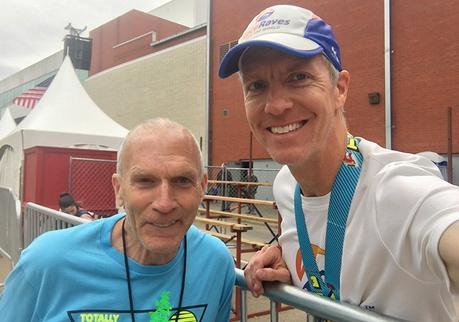 Mike Sohaskey and Bart Yasso at the finish line of the Little Rock Marathon