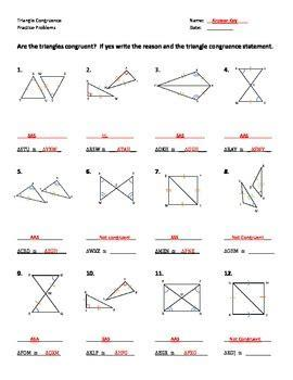Given that dabc @ dxyz, identify and mark all of the congruent corresponding parts. Triangle Congruence Worksheet - Practice Problems by Dr ...