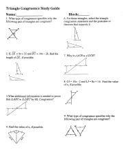 Proving triangle congruency using sas and asa warm up: Unit 4 Study Guide.pdf - Triangle Congruence Study Guide ...