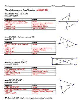 The symbol for congruent is ≅. Triangle Congruence Proof GEOMETRY Worksheet END OF UNIT ...