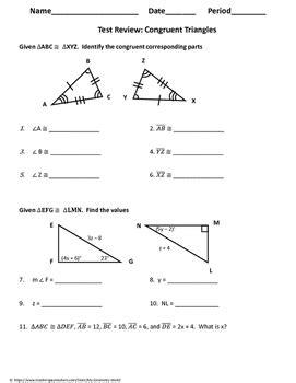 Monday, 10/31 triangle proofs with cpctc check point how many corresponding parts should be listed in your grade: Geometry Test Review: Congruent Triangles by My Geometry ...