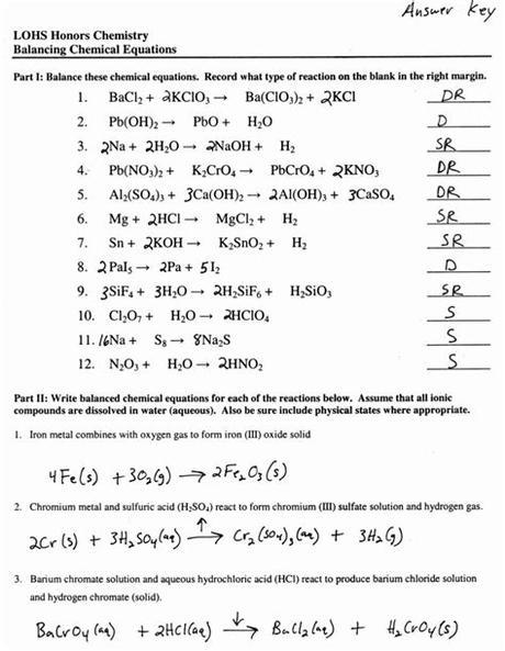 Types of reactions worksheet then balancing! Balancing Chemical Equations Worksheet 1 Answer Key ...