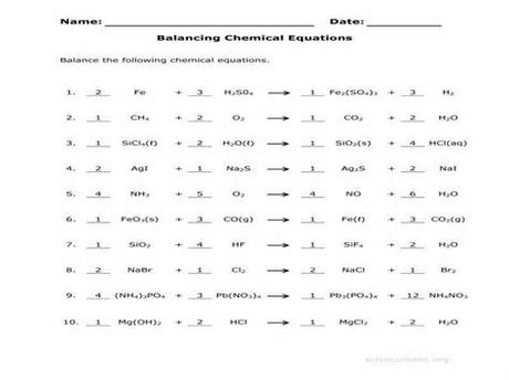 4 balancing equations worksheets with answers. Types Of Chemical Reactions Worksheet Answers ...