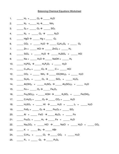Balancing equations and types of reactions. 6 Best Images of Balancing Chemical Equations Worksheet ...