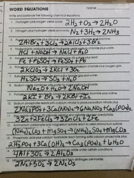 Then go back and balance the following equations: Balancing Equations Worksheets Answers Page 61