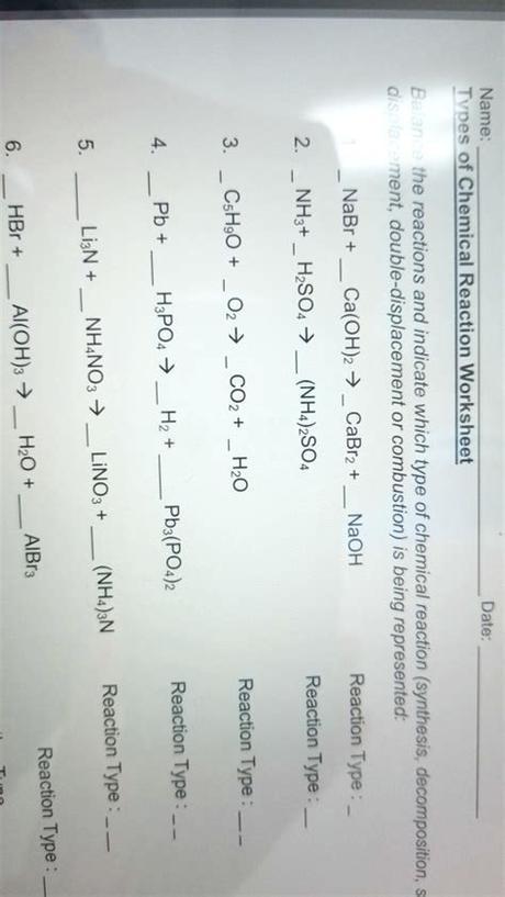 4 nh3 (g) + 5 o2 (g). Balancing Chemical Equations Worksheets Answers Science ...