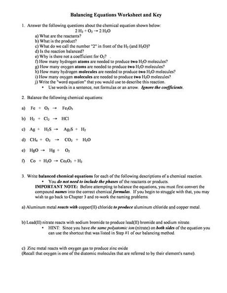 Balance the following equations and indicate the type of reaction as formation 2. Chapter 11 Chemical Reactions Worksheet Answers : Chapter ...
